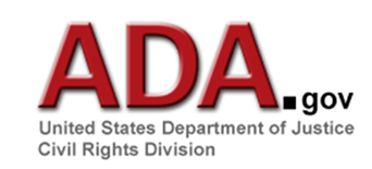 Title: Figure 2 - Description: White rectangle hyperlink containing the URL A-D-A in red lettering followed by the dot gov in black text.  Centered underneath in grey text is United States Department of Justice,Civil Rights Division.