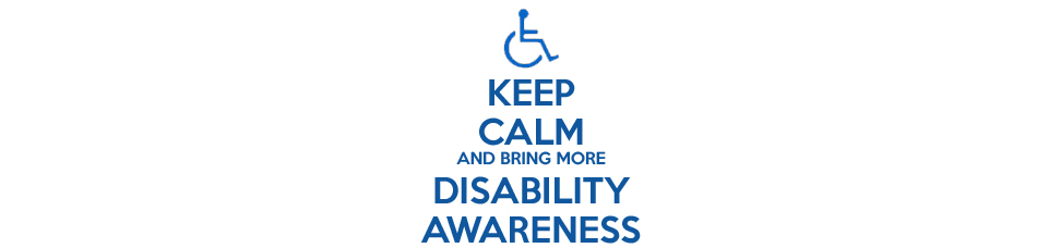 Black square box containing a blue accessible wheelchair symbol with green text beneath the symbol saying 'Keep Calm And Bring More Disability Awareness'.