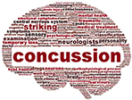 Brain shaped collage around the word Concussion