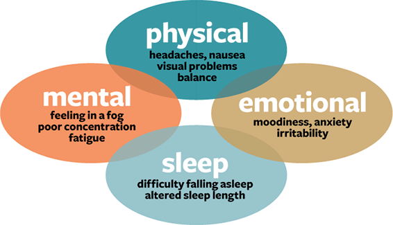 image illustrating physical, mental, emotional and sleep impacts of concussion