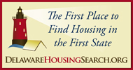 Image of a lighthouse shining a light on the words 'The first place to find housing in the first state' with the url delawarehousingsearch.org at the bottom